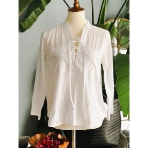 Madewell White Lace-Up Blouse